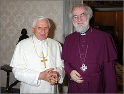 "Pope Benedict XVI and Anglican Archbishop of Canterbury Rowan Williams held a private meeting in May. The synod's vote is another ""obstacle for the reconciliation between the Catholic Church and the Church of England,"" a cardinal said."