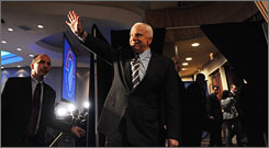 Presumed Republican presidential nominee John McCain, the senator from Arizona, addressed supporters and attendees of the League of United Latin American Citizens convention on Tuesday in Washington.