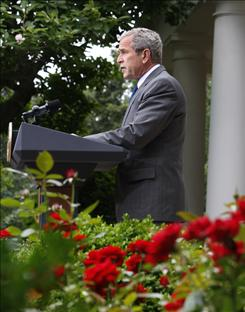 President Bush Wednesday makes a statement in the Rose Garden on the Foreign Intelligence Surveillance Act reform legislation, which passed the Senate 69-28 that afternoon.