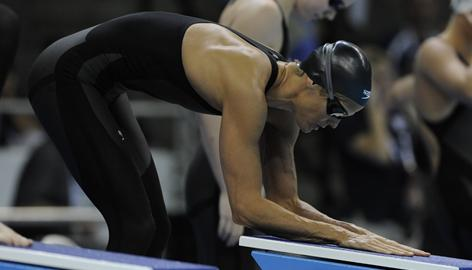 Dara Torres, 41, prepares to compete in the women's 100m freestyle preliminary at the 2008 U.S. Olympic Team Trials for Swimming in Omaha, in July.