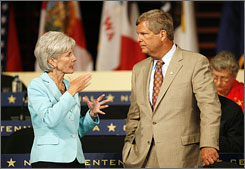 Democratic Kansas Gov. Kathleen Sebelius, left, chats with former Iowa Gov. Tom Vilsack, during a break at the National Governors' Association centennial meeting, Saturday in Philadelphia. For more than three decades, the National Governors' Association has assembled on presidential election years as one of its members made a bid for the White House. With two senators as the presumed nominees of their respective parties, the governors have been consigned to the running-mate heap.