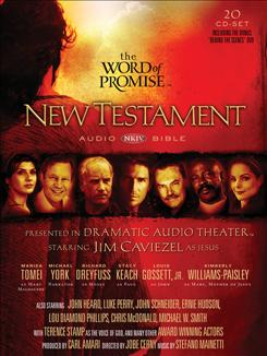 The Word of Promise features Terence Stamp as the voice of God, Marisa Tomei as Mary Magdalene, Lou Gossett Jr. as apostle John, Lou Diamond Phillips as Mark and Luke Perry as Judas.