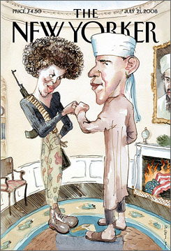 Democrats and Republicans are calling a New Yorker magazine cover tasteless and offensive for its satirical depiction of Barack Obama as a Muslim and his wife, Michelle, as a gun-toting terrorist.