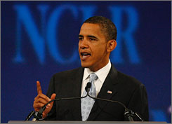 Democratic presidential contender Barack Obama, the senator from Chicago, says in a newspaper opinion piece that he would send two more combat brigades to Afghanistan. Here, Obama is seen addressing the annual convention of the National Council of La Raza, an Hispanic advocacy group, in San Diego on Sunday.