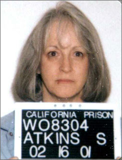 The California Board of Parole Hearings has denied the request of Susan Atkins, Charles Manson follower and killer of actress Sharon Tate, for compassionate release because she is dying of brain cancer. Here, Atkins is seen in an undated handout photo.