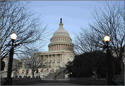 A new poll shows Americans' approval of how Congress members are doing their jobs is at a 34-year low. Here, the U.S. Capitol building is seen in January.