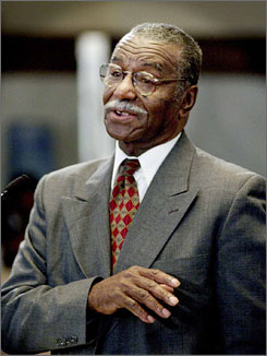 Rev. Fred L. Shuttlesworth  speaks inside City Council chambers in Cincinnati in 2002.  Mayor Larry Langford suggested renaming the airport for Shuttlesworth, who moved from Birmingham and spent most of the last 47 years leading a church in Cincinnati.