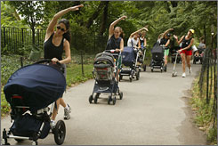 "Women ""strollercize"" during a class in Central Park, N.Y. Will these classes get bigger as the nation goes through a baby ""boomlet""? Elementary classes sure will, experts say."