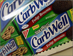 Lower-carbohydrate cookies are seen on a supermarket shelf in New York in 2004, during the height of the low-carb craze.