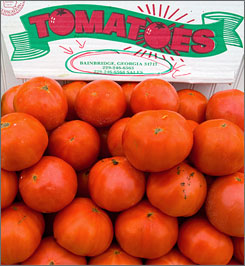 Tomatoes are offered for sale at Eastern Market in Washington, D.C.