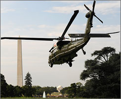 "Some of the 19 presidential helicopters, any of which is known as ""Marine One"" when the president is aboard, are more than 30 years old."