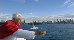 Pope Benedict XVI waves aboard a harbour cruise in Sydney, Australia, July 17.