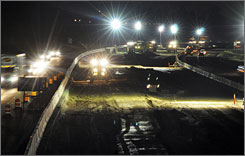Crews works through the night on roads in Idaho. 