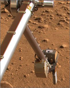 The Surface Stereo Imager on NASA's Phoenix Mars Lander shows the silver colored rasp protruding from the lander's robotic arm scoop.
