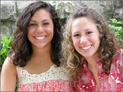 Twins Elana, left, and Ariella Korn, will attend separate colleges this fall.