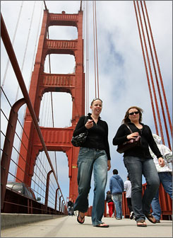 "Pedestrians walk across the span of the Golden Gate Bridge last week in San Francisco. The city was named the most ""walkable"" in the nation by the website WalkScore.com. San Francisco scored 86 out of a possible 100 based on residents' proximity to services and amenities. New York was second with 83 and Boston was third with 79."