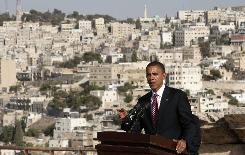U.S. Democratic presidential candidate Senator Barack Obama (D-IL) speaks at a press availability at the Amman Citadel in Amman, Jordan, July 22, 2008.