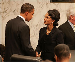 Secretary of State Condoleezza Rice has issued orders to all embassies to be wary of special favors for presidential candidates who might be traveling overseas. Here, Rice is seen with Democratic presidential contender Barack Obama, the senator from Illinois, during her 2005 confirmation hearing on Capitol Hill.