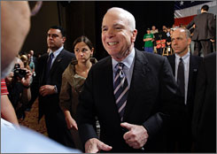 Republican presidential contender John McCain, the senator from Arizona, told a crowd of supporters Wednesday in Wilkes-Barre, Pa., that the recent drop in oil and gas prices happened because President Bush lifted a ban on offshore drilling.