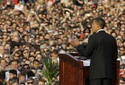 U.S. Democratic presidential candidate Sen. Barack Obama, D-Ill., delivers a speech at the Victory Column in Berlin.
