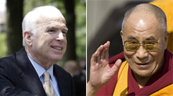 "The Dalai Lama, right, was awarded the Congressional Gold Medal last year. John McCain, left, said China needs to know that its treatment of its citizens ""is a legitimate subject of international concern."""