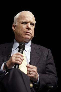 Republican presidential candidate, Sen. John McCain spoke as Democratic candidate Sen. Barack Obama toured Europe.