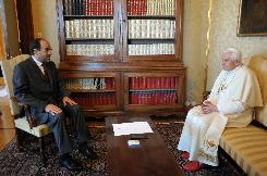 Pope Benedict XVI meets with Iraqi Prime Minister Nouri al-Maliki at the pontiff's summer residence in Castel Gandolfo south of Rome.