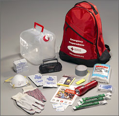 The American Red Cross personal preparedness kit includes items such as food bars, water, a blanket and a first aid kit.