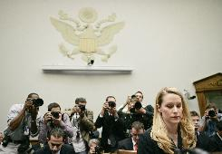 In this May 2007 file photo, former U.S. Justice Department White House Liaison Monica Goodling arrives to testify about the firing of federal prosecutors before the House Judiciary Committee on Capitol Hill.