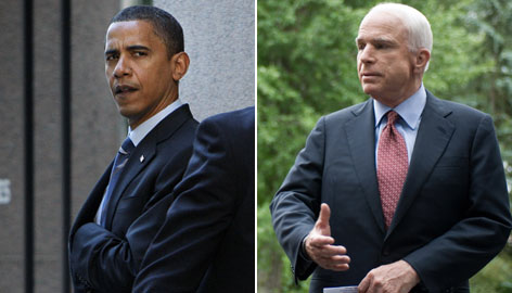 A USA TODAY/Gallup Poll showed Barack Obama, left, ahead 47%-44% among registered voters, down from a 6-percentage point lead he had last month. McCain led 49%-45% among likely voters, reversing a 5-point Obama lead among that group. 