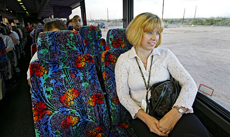 Donna Nance of Maricopa works in Phoenix and takes a commuter bus that's part of the suburb's transit program.
