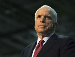 Republican presidential candidate, Sen. John McCain, R-Ariz., speaks during a town hall meeting with employees of the Wagner Equipment Co.,  Wednesday, in Aurora, Colo.