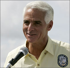 Republican Florida Gov. Charlie Crist gave his support to John McCain's candidacy before the state's primary in January.