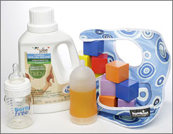 A variety of products are on the market that address consumers concerns of chemical contamination for children and families, including the Born Free baby bottle, Seventh Generation baby laundry detergent, Adiri natural nurser bottle, Bumpking waterproof Superbib and HABA Baby's First Blocks.