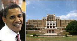 Democratic presidential contender Barack Obama, left, the senator from Illinois, seen here campaigning Wednesday in Elkhart, Ind., reportedly has ancestors who hailed from Arkansas. On the right is Little Rock Central High School, integrated by nine African-American students in 1957 after the U.S. Supreme Court cleared the path for public school desegregation.
