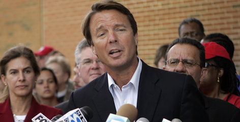 Former Democratic presidential candidate John Edwards speaks at a news conference in Hartford, Conn., in this July 2008, file photo.