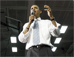 Democratic presidential candidate Barack Obama speaks at a town hall meeting in Youngstown, Ohio, earlier this week.