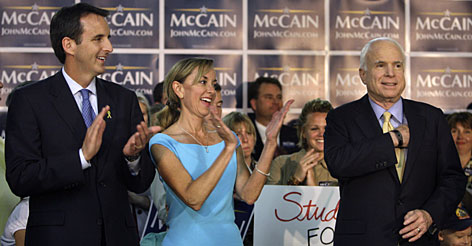 Minnesota Gov. Tim Pawlenty and his wife, Mary, appear with Republican presidential candidate John McCain in St. Paul on July 10.