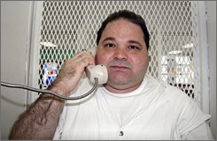 Texas death row inmate Michael Rodriguez is interviewed on death row  at the Polunsky Unit of the Texas Department of Criminal Justice in Livingston, Texas, July 30.