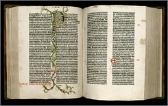 This is a digitized copy of pages of the Book of Judges in the Gutenberg Bible owned by the Harry Ransom Center at the University of Texas in Austin, Texas. The public is now able to view all pages of it online at http://www.hrc.utexas.edu/gutenberg. (AP Photo/University of Texas