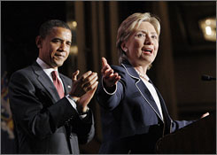 Hillary Rodham Clinton speaks in New York during one of Barack Obama?s campaign stops last month.