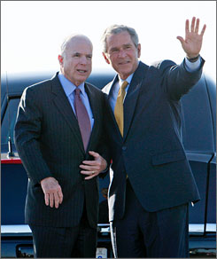 President Bush, seen here on May 27 with Republican presidential contender John McCain, the senator from Arizona, at Phoenix Sky Harbor International Airport after a McCain fundraising event, has raised nearly $1 billion for GOP campaigns.