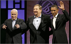 Pastor Rick Warren introduces presidential candidates Sen. John McCain (R-Ariz.), left, and Sen. Barack Obama (D-Ill.), right, to the audience at the Civil Forum on the Presidency at Saddleback Church in Lake Forest, Calif. on Saturday.