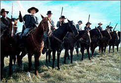Mormon militia in a scene from the film September Dawn about the real-life killing of 120 men, women and children, known as the Mountain Meadows Massacre.