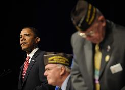 Democratic presidential candidate Barack Obama addresses the Veterans of Foreign Wars 109th National Convention on Tuesday in Orlando