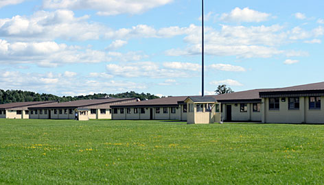 Wardens across the nation are succeeding in driving down the violence in prisons, including by changing security measures. Pictured is Greene Correctional Facility in Coxsackie, N.Y.