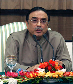 Asif Ali Zaredari has been proposed, the widower of slain Pakistani leader Benazir Bhutto, has been prposed t replace former Pakistan President Pervez Musharraf. Here, Zardari, ruling leader of the Pakistan Peple's Party, speaks during the party's central executive meeting in Islamabad, Pakistan, on Friday.
