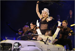 Madonna kicked off her 'Sticky and Sweet' tour in the U.K. Saturday just a week after her 50th birthday.