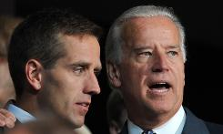 Sen. Joe Biden appears with son Beau at the Democratic National Convention at the Pepsi Center on Monday.