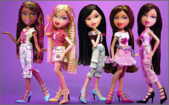 Bratz dolls shown at the American International Toy Fair in New York. Damages were awarded to Mattel Inc. for contract interference and copyright infringement. No punitive damages were ordered against MGA, the maker of the Bratz dolls.